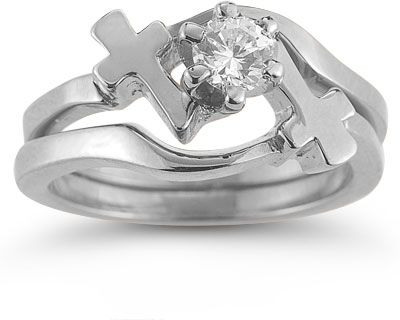Cross Engagement And Wedding Ring Bridal Set In 14k White Gold W Cz