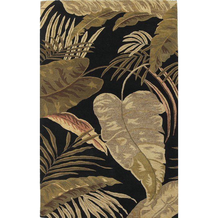 Delview Rainforest Midnight Brown Tan Plants Area Rug In