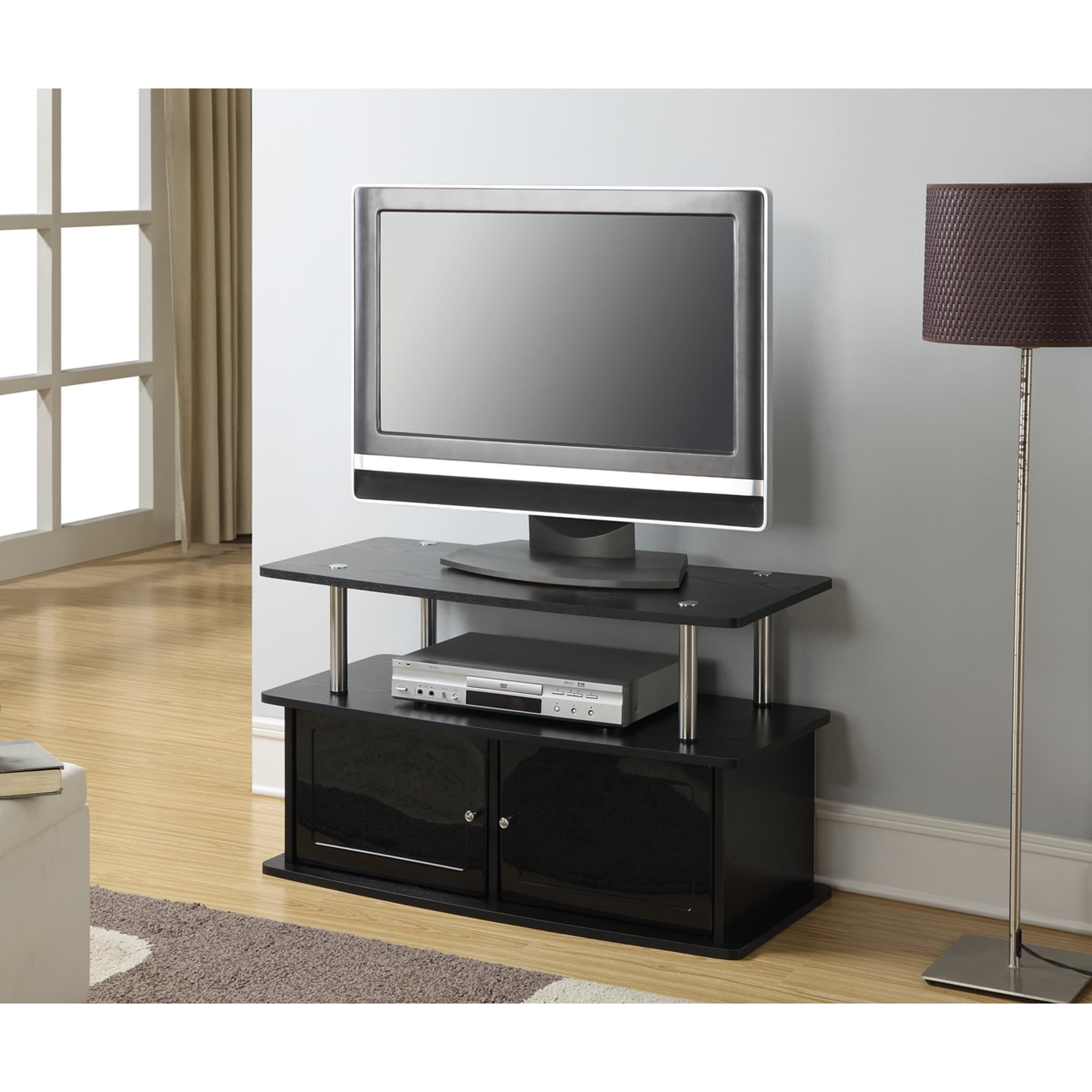 Porch & Den Bywater Montegut Stainless Steel and Wood TV Stand with