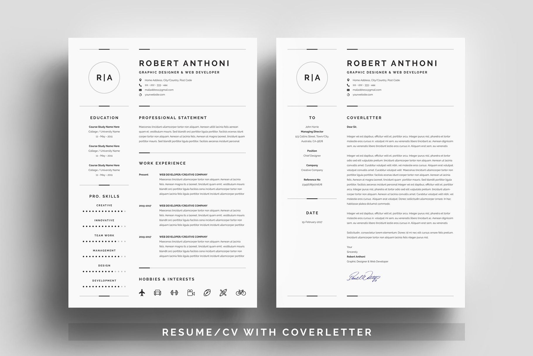 3 pages clean resume cv template resume clean pages templates