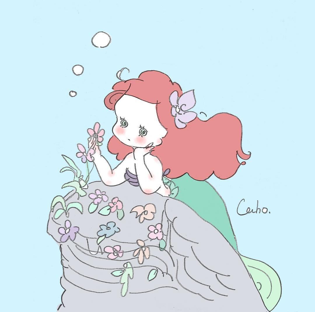 アリエル Disney Ariel Littlemermaid 人魚 イラスト かわいい
