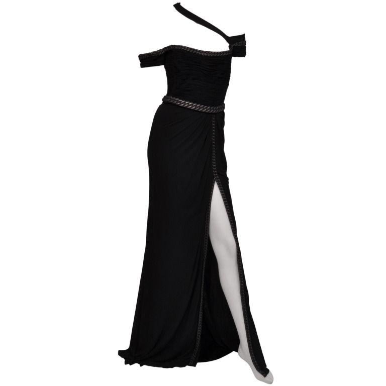 New VERSACE BONDAGE CHAIN EMBELLISHED LONG BLACK DRESS   Long black ...