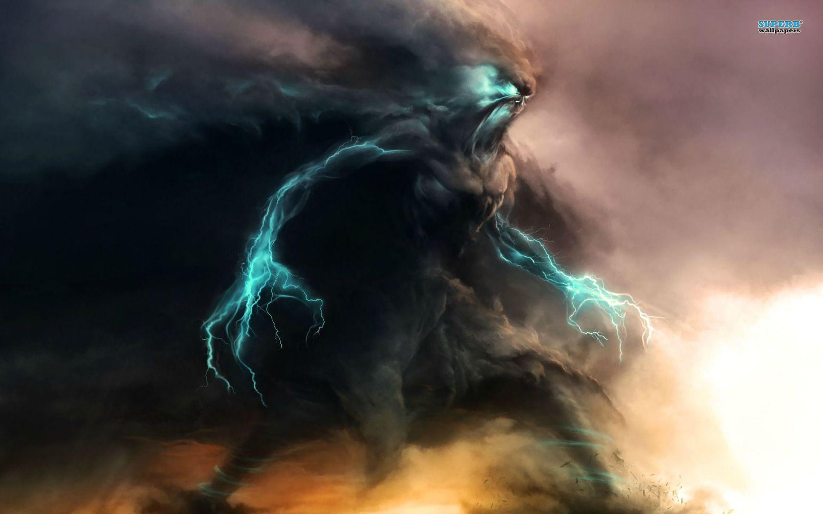 Storm Monster Wallpaper Digital Wallpaper Fantasy Art Fantasy