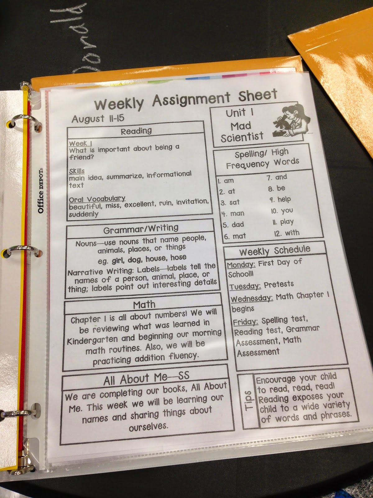Pride and Primary: First Grade Homework Packets and OZ Binder | Back ...