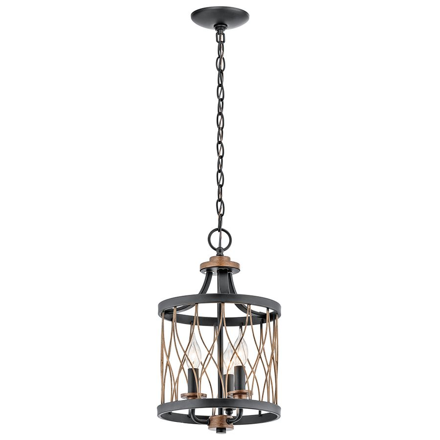 For Kitchen: Kichler Lighting Brookglen Black With Gold Tone Country  Cottage Single Cage Pendant