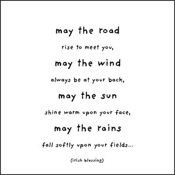 """Inspirational Quotable Card reading """"May The Road Rise To Meet To You"""" printed on 100% recycled paper."""