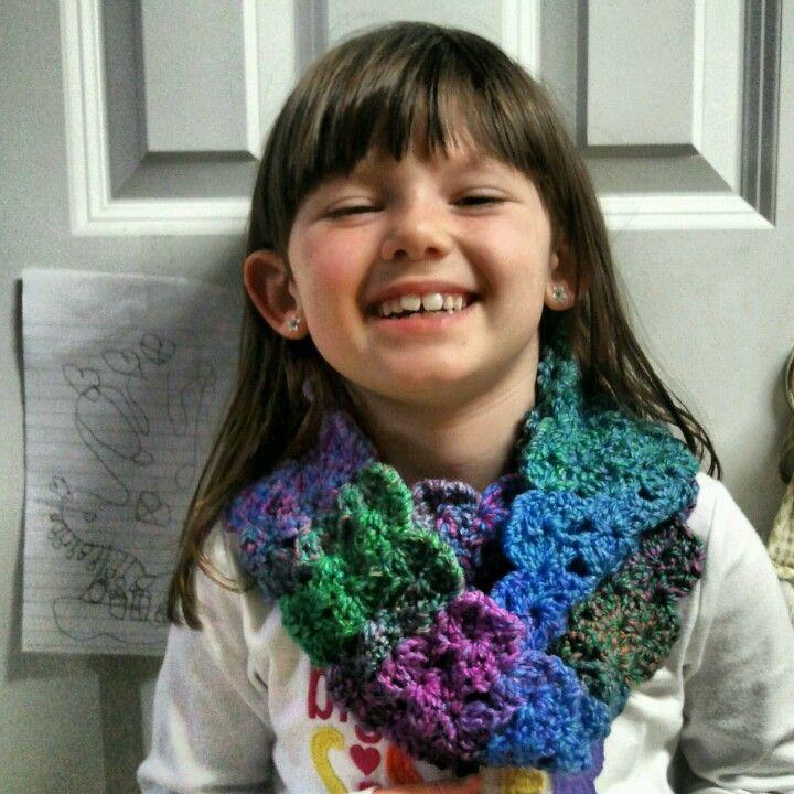 Little girls crocheted infinity scarf!