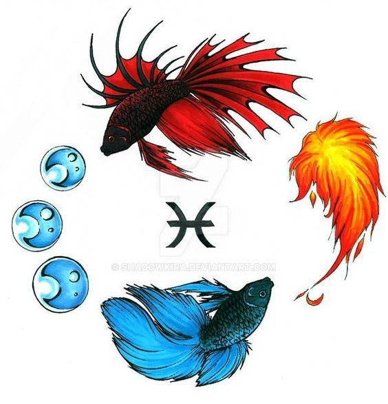 Elemental Beta Pisces Tattoo D by ShadowKira on DeviantArt -  Elemental Beta Pisces Tattoo D by ShadowKira on DeviantArt  - #Beta #DeviantArt #dragontattoo #elemental #pisces #piscestattoo #shadowkira #tattoo