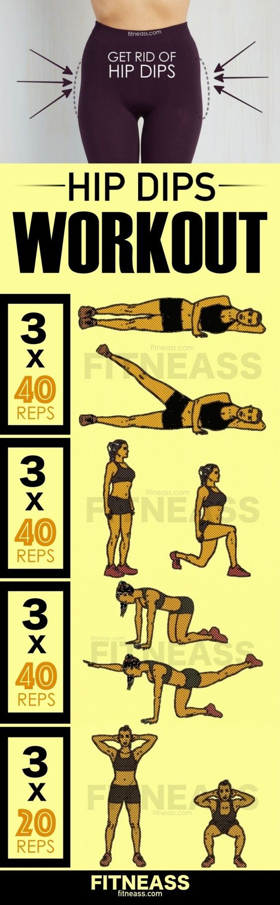 Side leg lifts How to do: On a mat, lie down on your left side with your legs extended. The right foot should be resting on top of the left foot. Rest your upper body on your left elbow with…