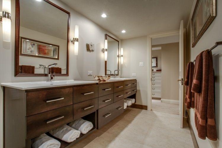 Meuble salle de bains bois carrelage et déco en 105 idées