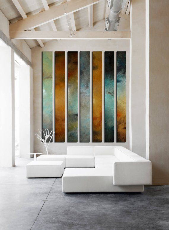 Large Painting Multiple Panels Foyer Art Curved Large