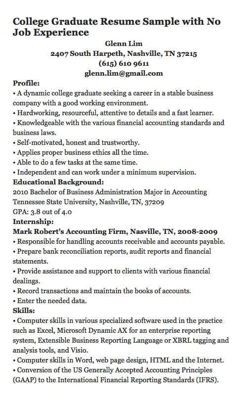 College Graduate Resume Sample With No Job Experience Glenn Lim