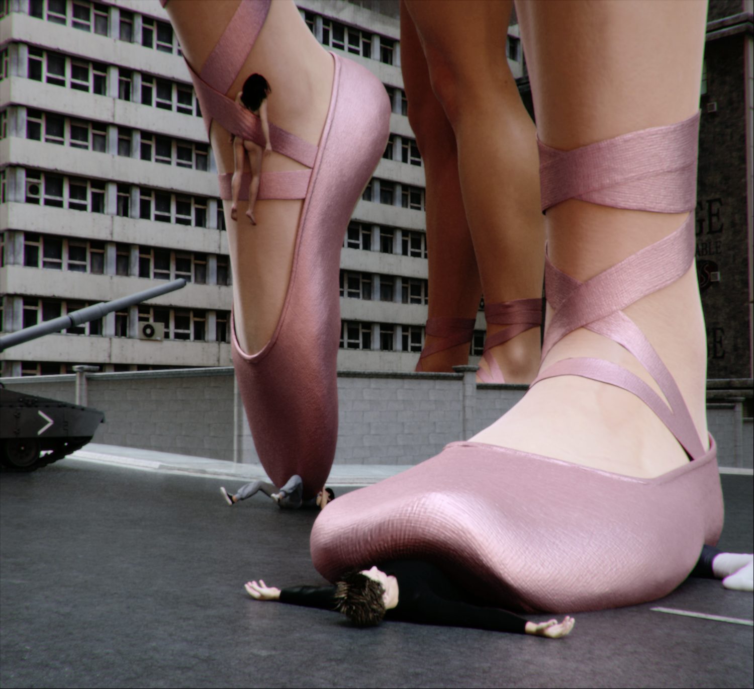 Giantess Booru Image ballerina ballerina slippers building