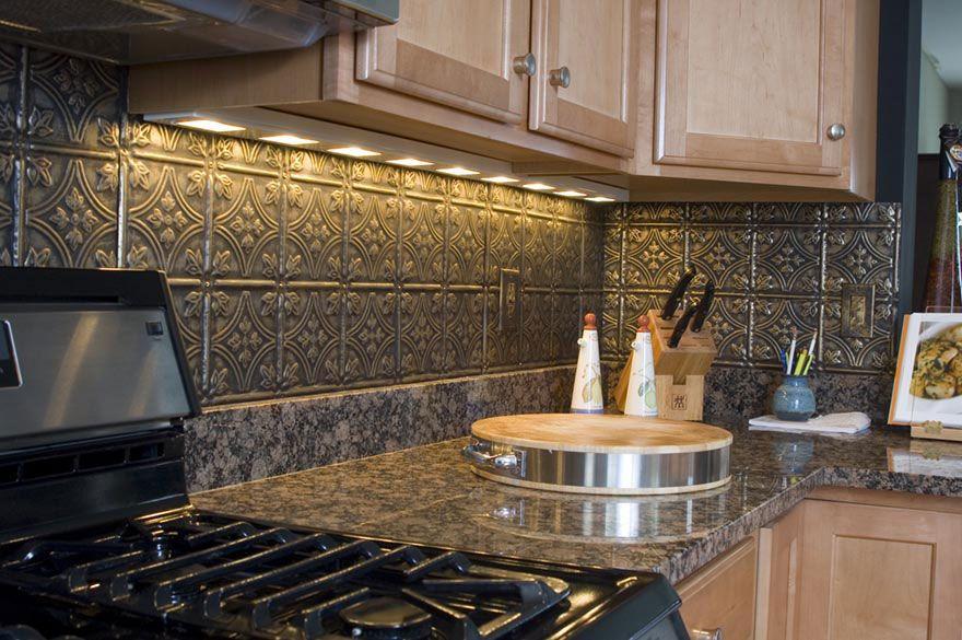 Tin Ceiling Tiles Backsplash Ideas Black granite Tin tile