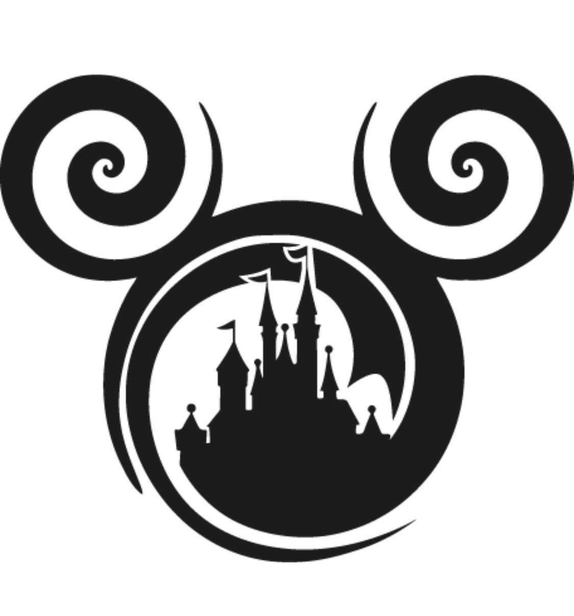 Mickey Mouse Logo in Castle Vinyl Decal-Disney