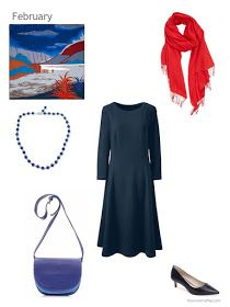 navy dress with red and blue accessories
