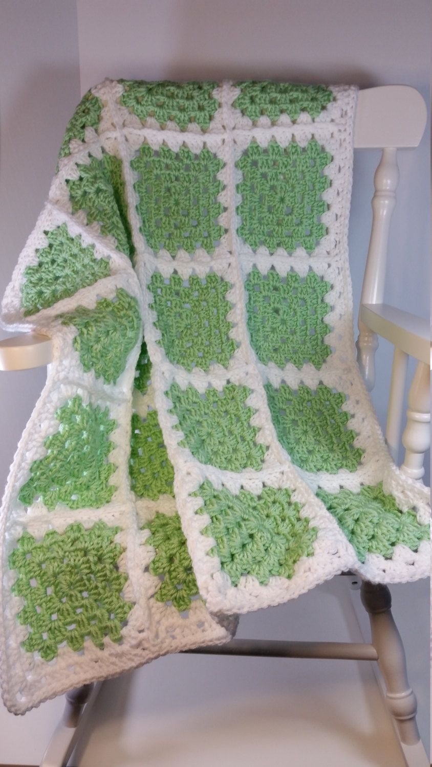 Crochet Baby Blanket Pea Green Granny Square Stroller Size Car Seat ...