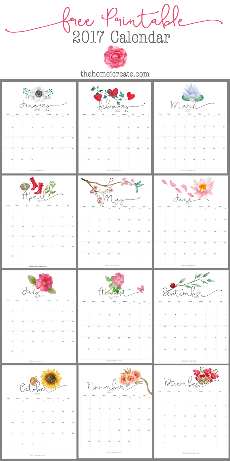 free 2017 printable calendar all things craft pinterest