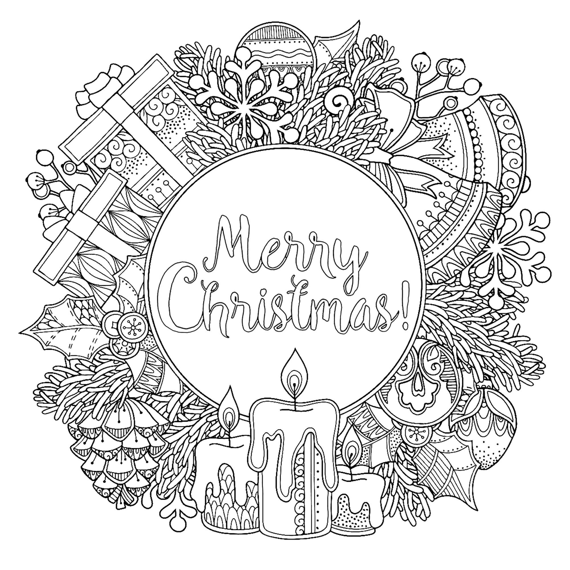 Christmas round frame in doodle style with the text Merry