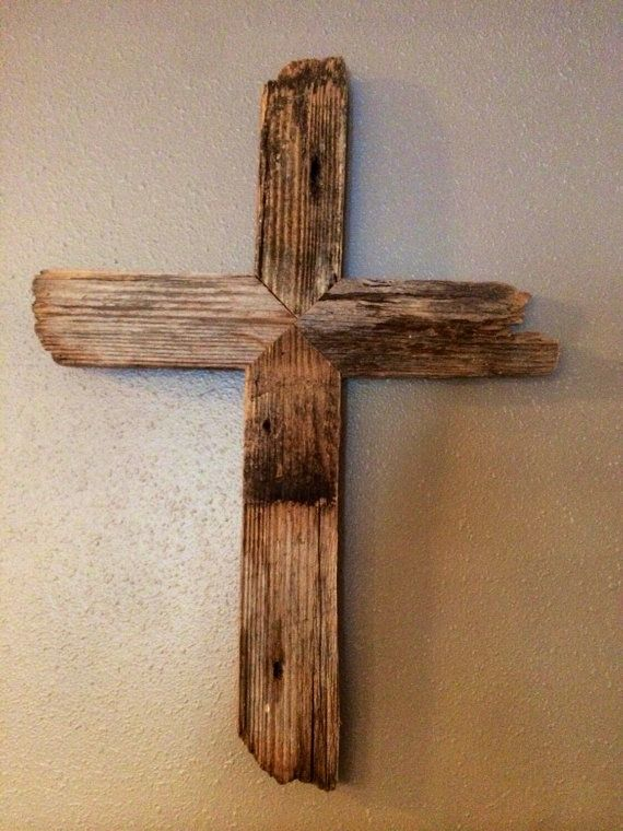 Rustic Barnwood Cross Aged Wood Cross By