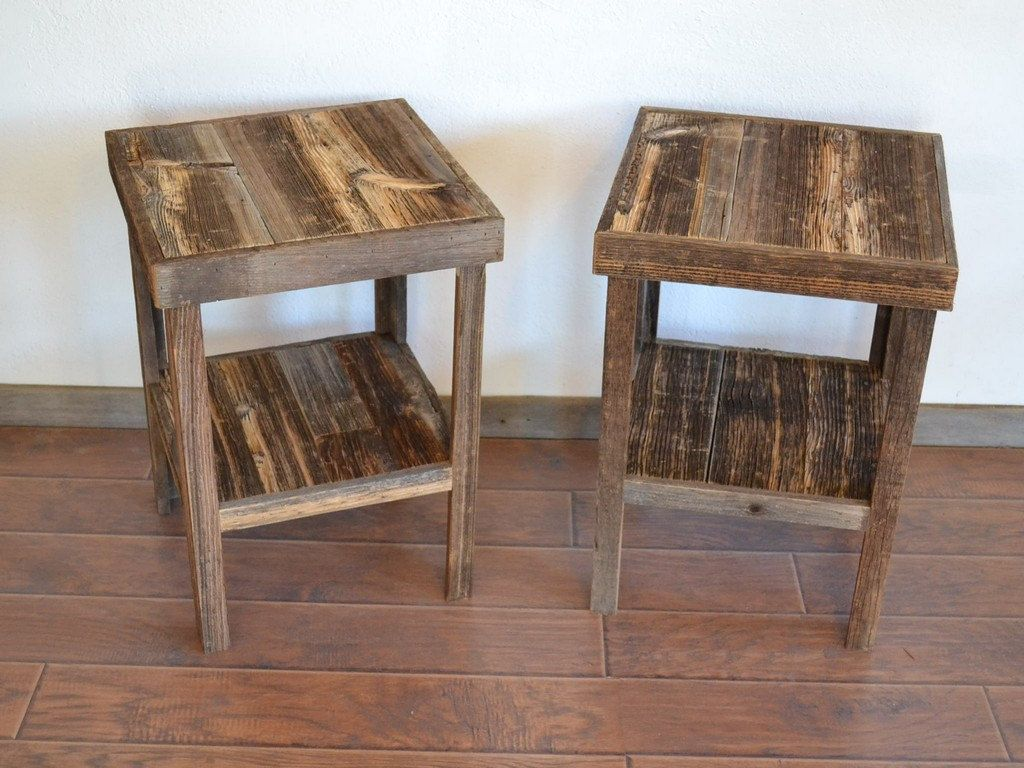 Eco Friendly Barnwood Wood End Table Or Night Stand Pair Pallet