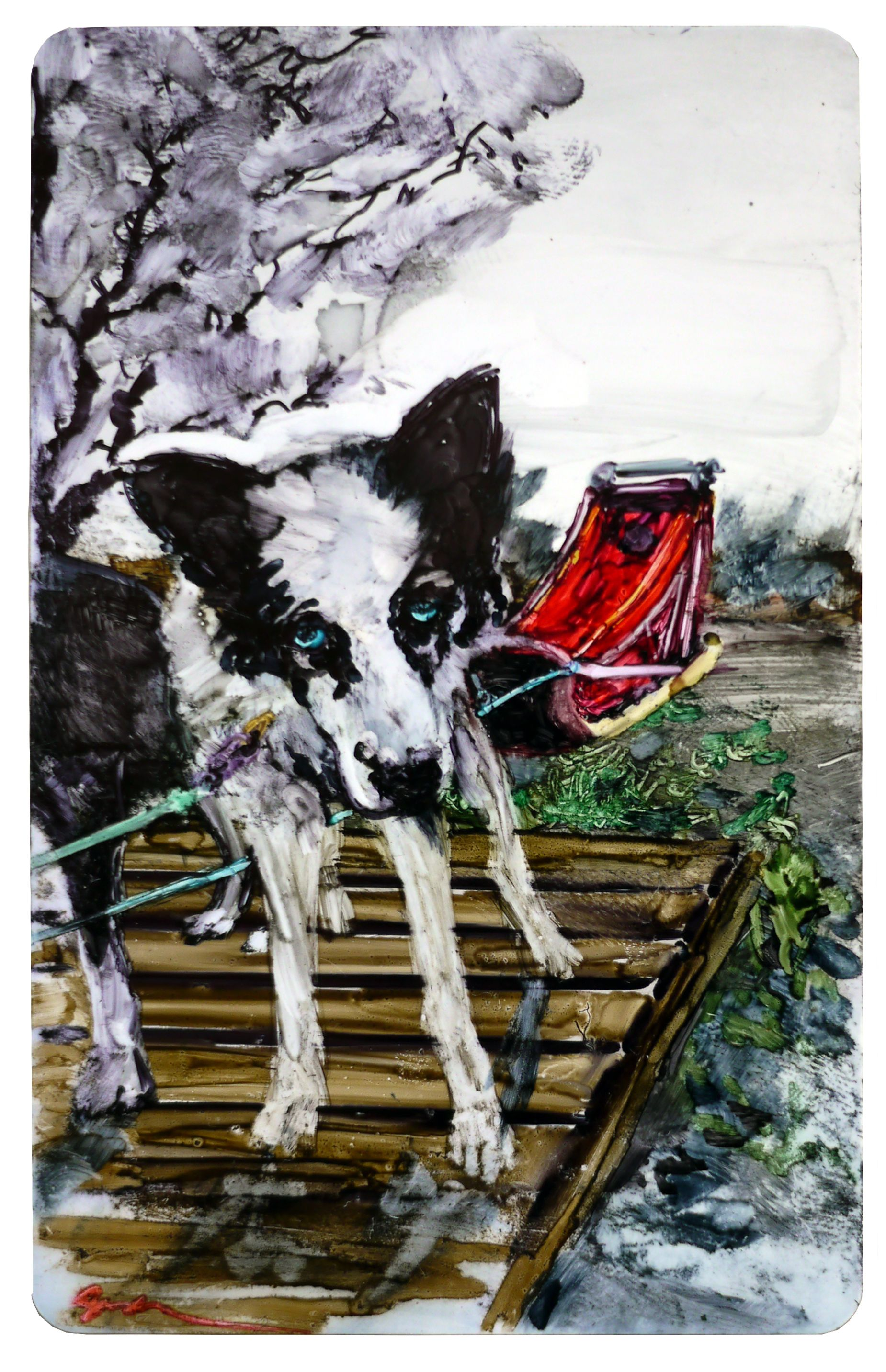 Day 309 Sled Dog 2x3.25 inches permanent marker on