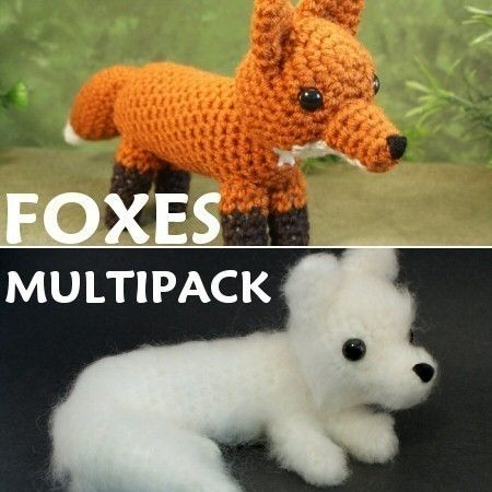 Red Fox and Arctic Fox  two amigurumi PDF CROCHET by PlanetJune (Craft Supplies & Tools, Patterns & Tutorials, Fiber Arts, Crochet, amigurumi, fox, red, arctic, white, fluffy, toy, animal, cute, brushed, deal)