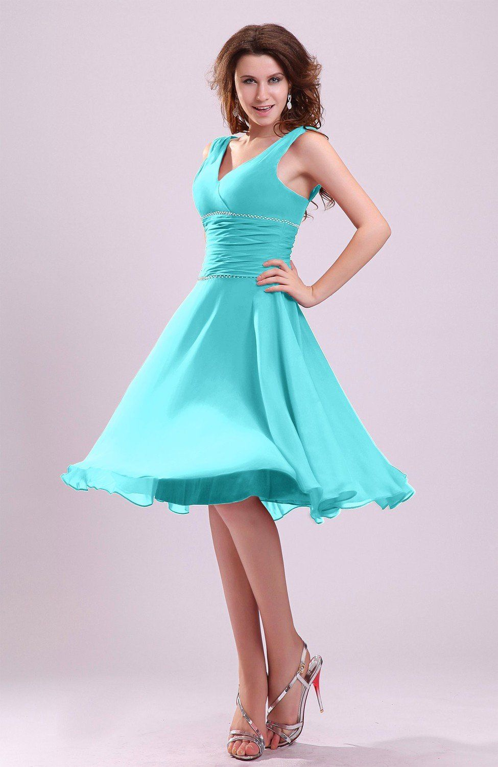 Turquoise Bridesmaid Dress - Cute A-line Sleeveless Chiffon Knee ...