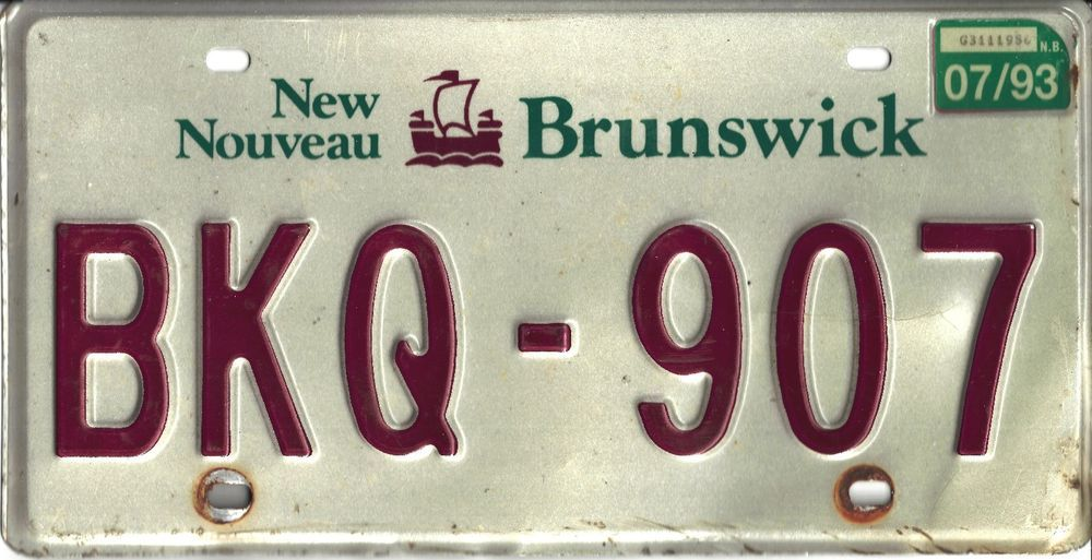 Details About 1993 New Brunswick Sample License Plate Tag 03 93