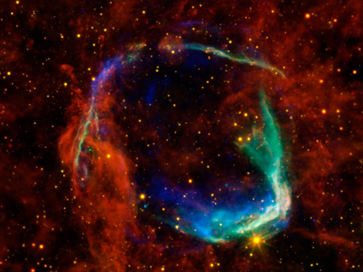 Remains of a Supernova.  This undated handout image provide by NASA combines data from four different space telescopes to create a multi-wavelength view of all that remains of the oldest documented example of a supernova, called RCW 86. NASA announced the findings Monday, Oct. 24, 2011, and said the exploded star was observed by the ancient Chinese in the year 185, and visible for eight months.
