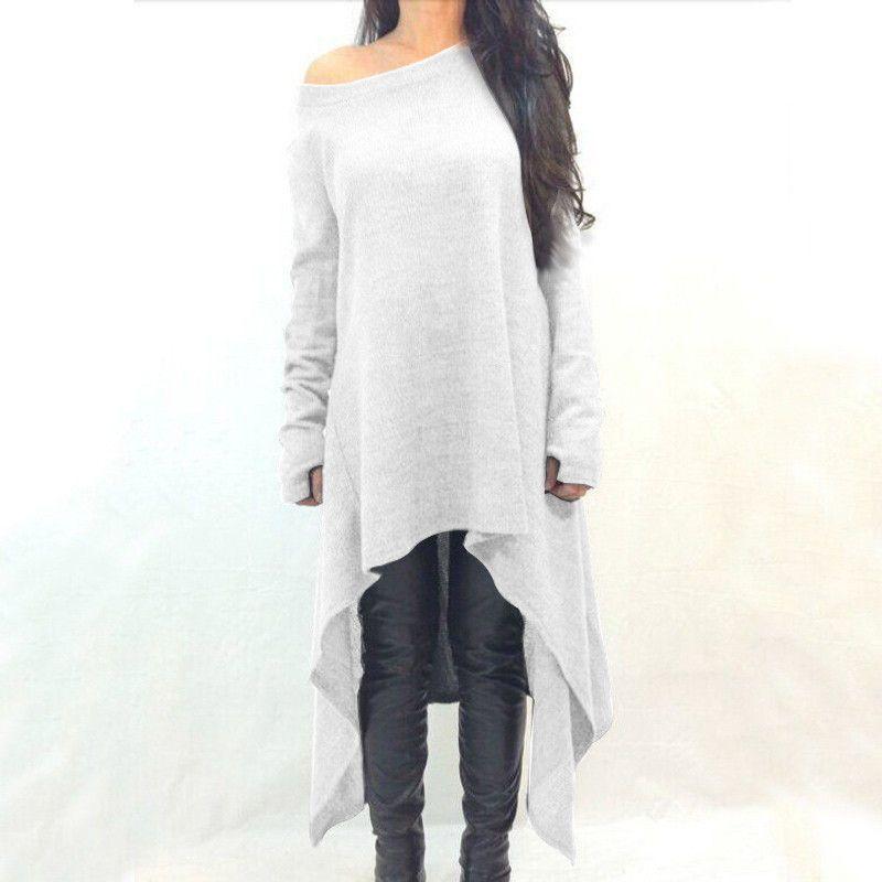 0143c37a8a5 Deep Grey Long Sleeve Asymmetrical Knit Dress - Plus Size