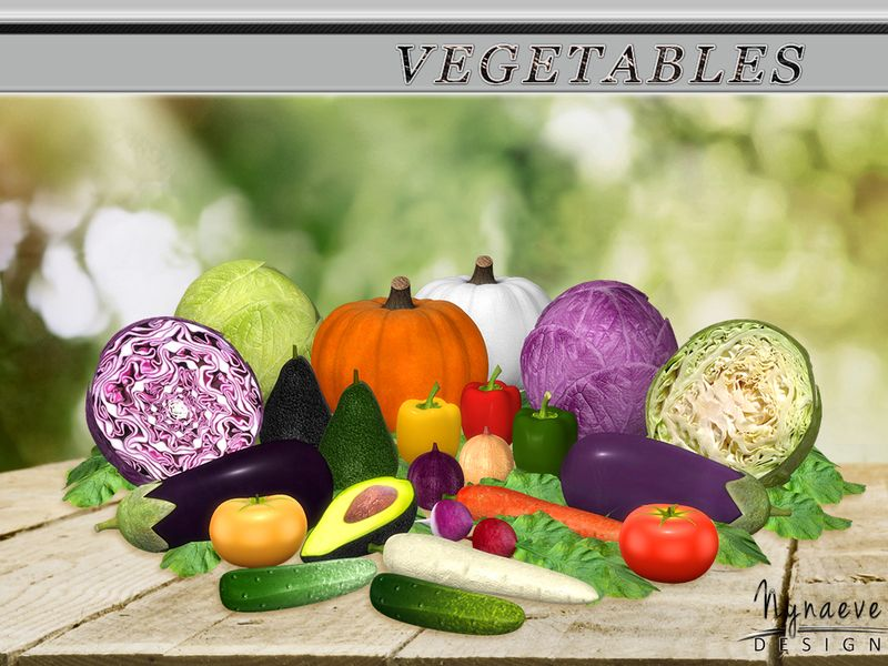 Feed the imagination of your sims with this colorful vegetable set.  Found in TSR Category 'Sims 4 Decorative Sets'