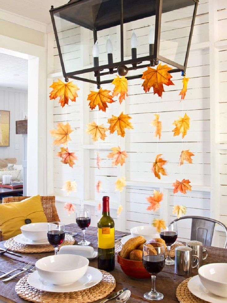 DIY Fall Leaves Chandelier You don\u0027t need a centerpiece for the