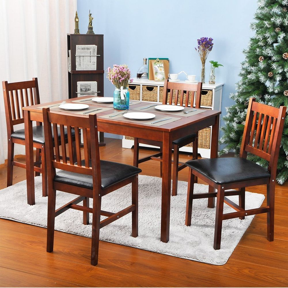 5 Piece Wood Dining Table Set 4 Person Home Kitchen And Chairs Walnut Harperbrightdesigns