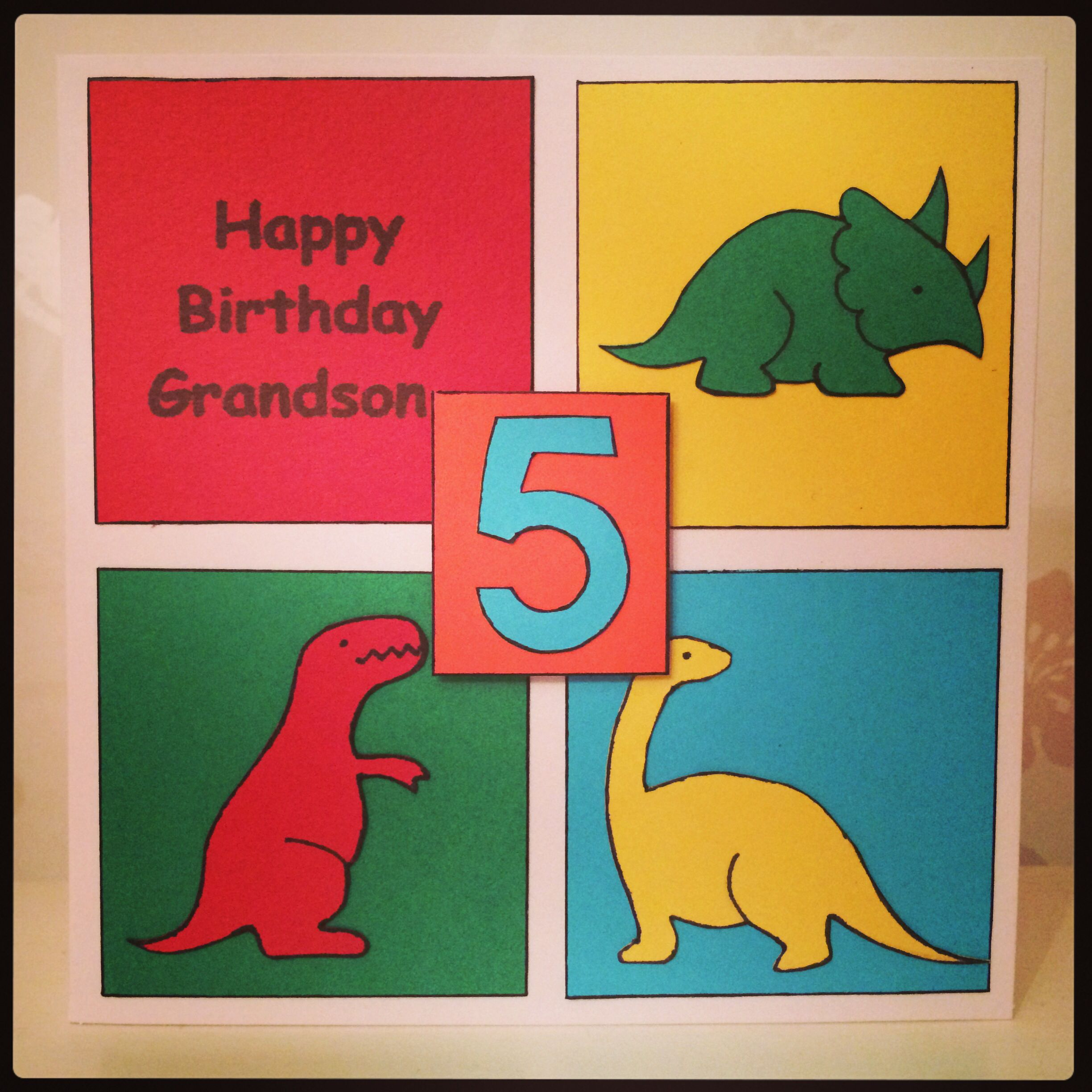 Handmade 5th Birthday Dinosaur Card My Handmade Cards Pinterest