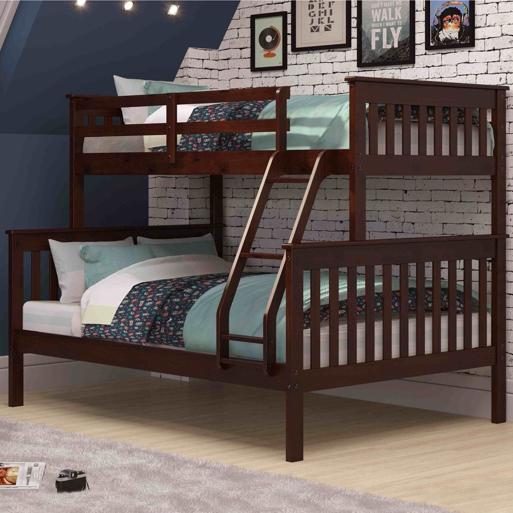 donco kids mission twin full bunk bed cappuccino cappuccino