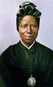 """Saint Josephine Margaret Bakhita (b.1869, kidnapped by Arab slave traders) ... A young student once asked Bakhita: """"What would you do, if you were to meet your captors?"""" Without hesitation she responded: """"If I were to meet those who kidnapped me, and even those who tortured me, I would kneel and kiss their hands. For, if these things had not happened, I would not have been a Christian and a religious today""""."""