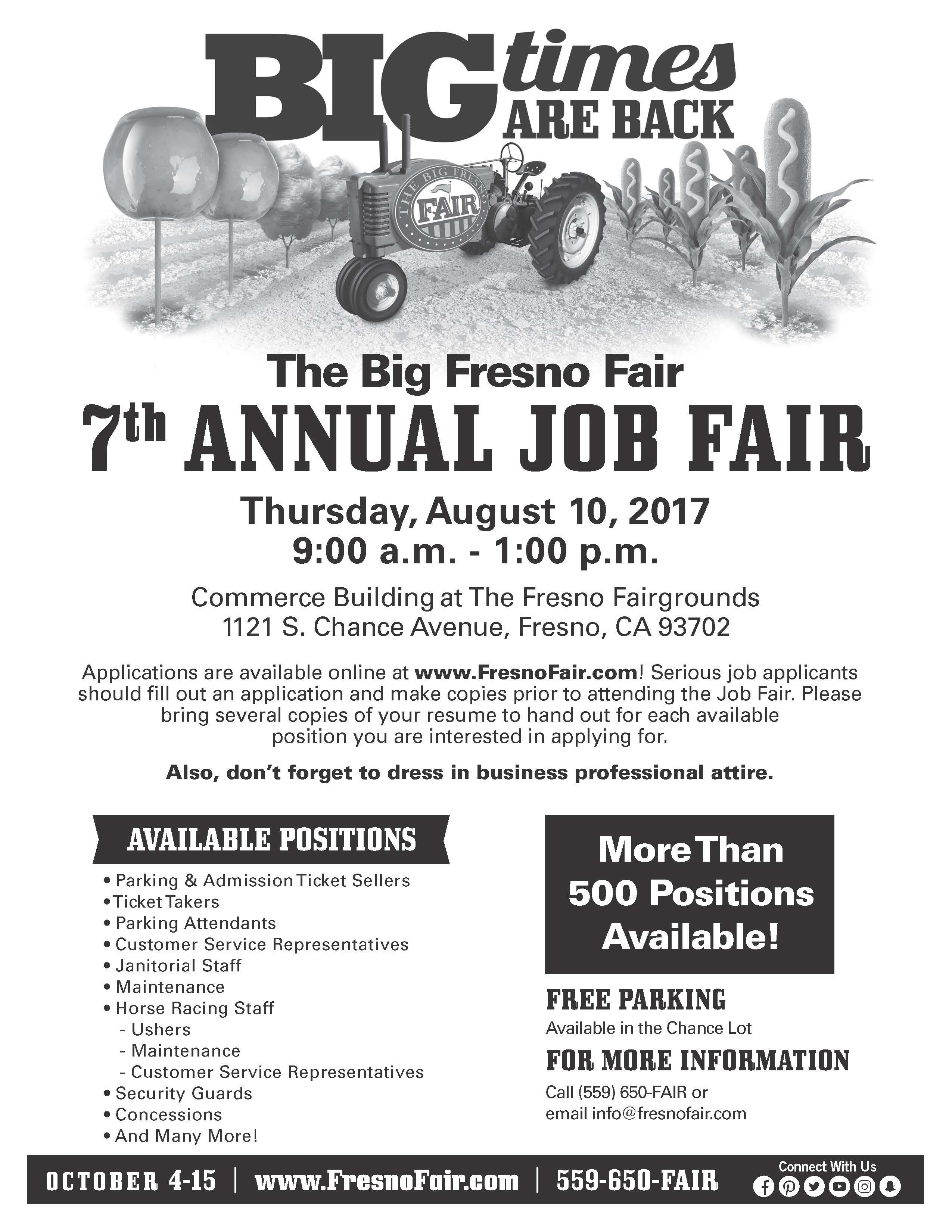 Do You Pride Yourself On Excellent Customer Service Then Don T Miss The 2017bff Annual Job Fair On Thurs 8 10 17 From 9 A M 1 P Job Fair Fresno Fair Job