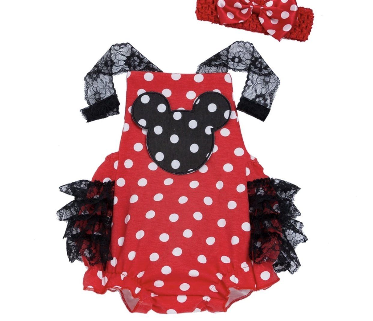 bdf26740c Girls Minnie Mouse Romper Baby Minnie Mouse Disney Onesie Outfit Set ...