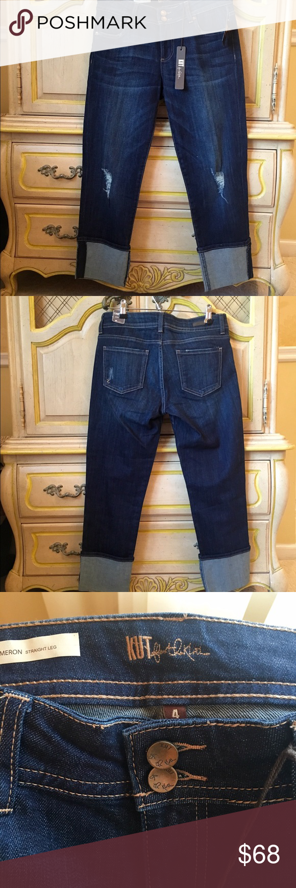 NWT KUT Jeans ♥️The Cameron Jean by KUT From the Kloth boasts a semi-relaxed fit and a straight leg that brings the easygoing feel you crave.  A dark wash with a deep indigo hue. Lightly applied 3-D whiskers, distressed details and the subtlest hand sanding finish the look. Kut from the Kloth Jeans Straight Leg