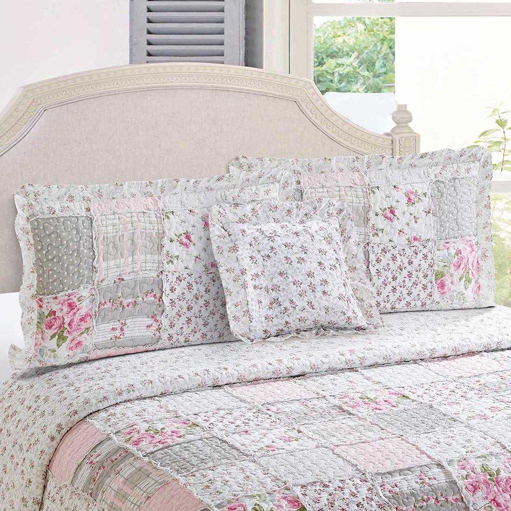 Chelsey Pink Patchwork Sham Bed Linens Luxury Sham Bedding