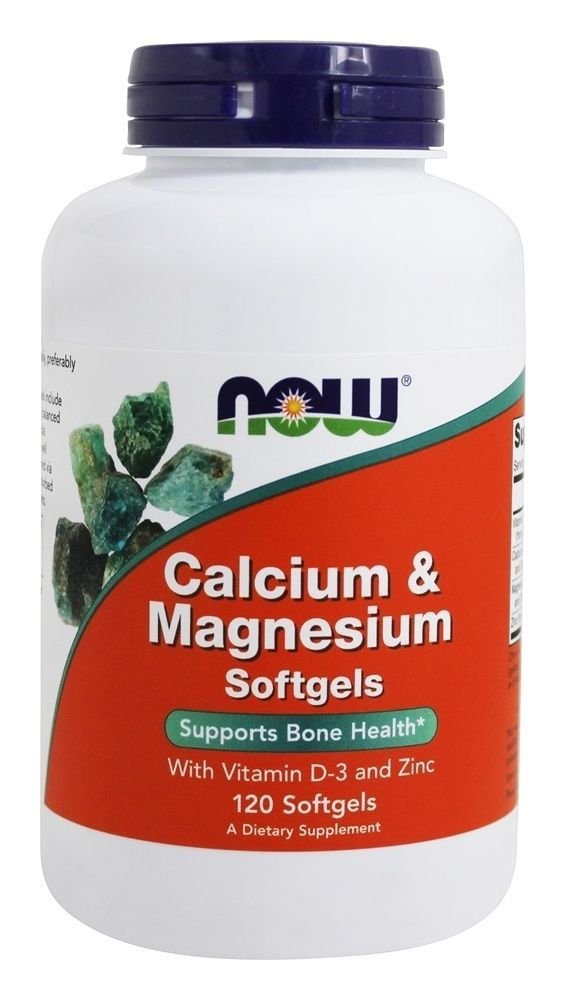 calcium magnesium with vitamin d and zinc 120 softgels now foods
