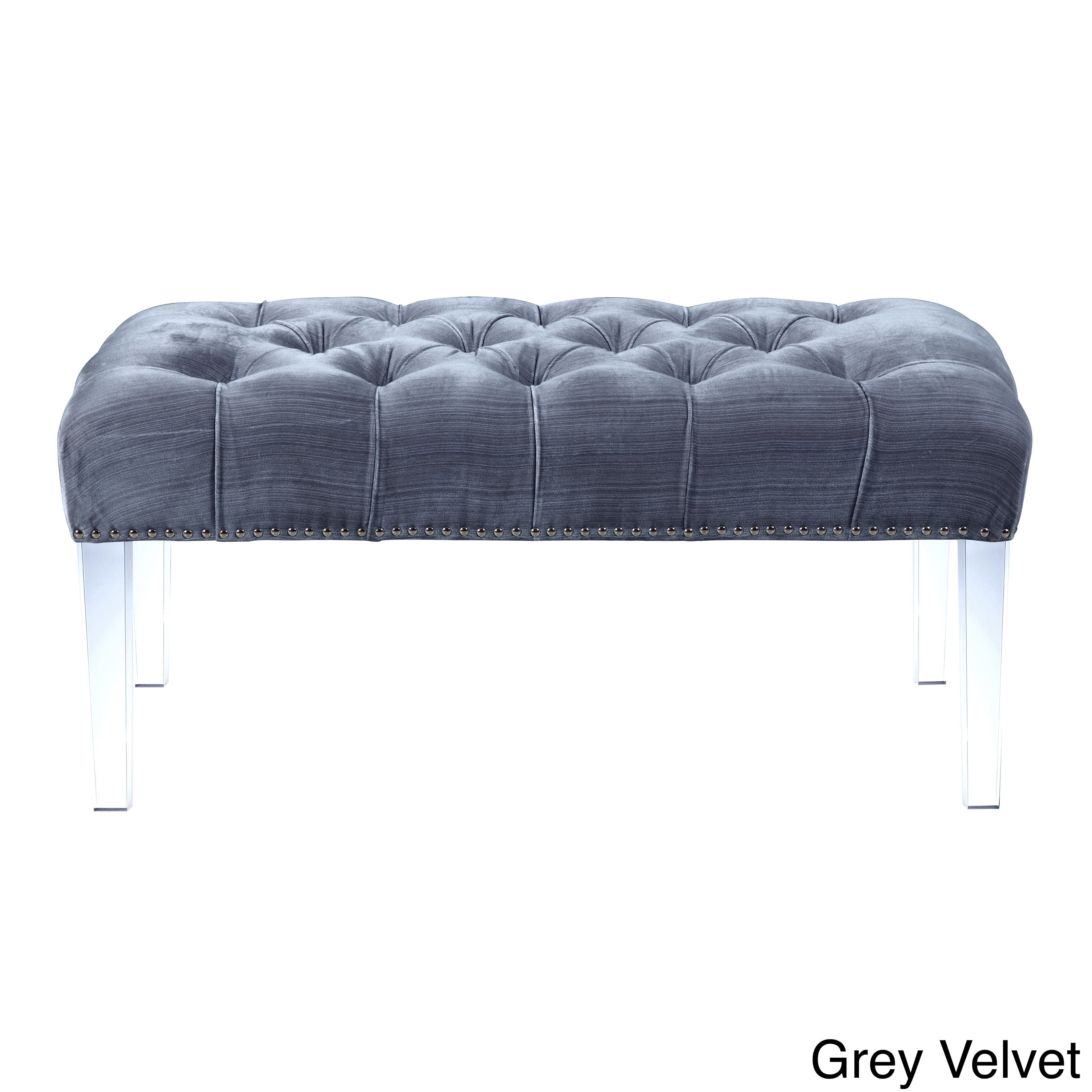 Strange Chic Home Odette Button Tufted Nailhead Ottoman Bench Grey Theyellowbook Wood Chair Design Ideas Theyellowbookinfo