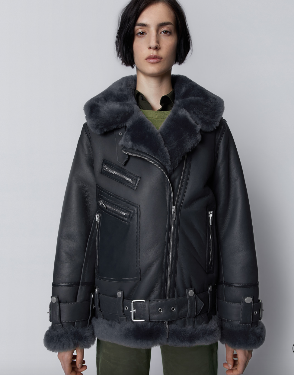 The Arrivals Shearling Jacket Leather Jacket Outerwear [ 1242 x 974 Pixel ]