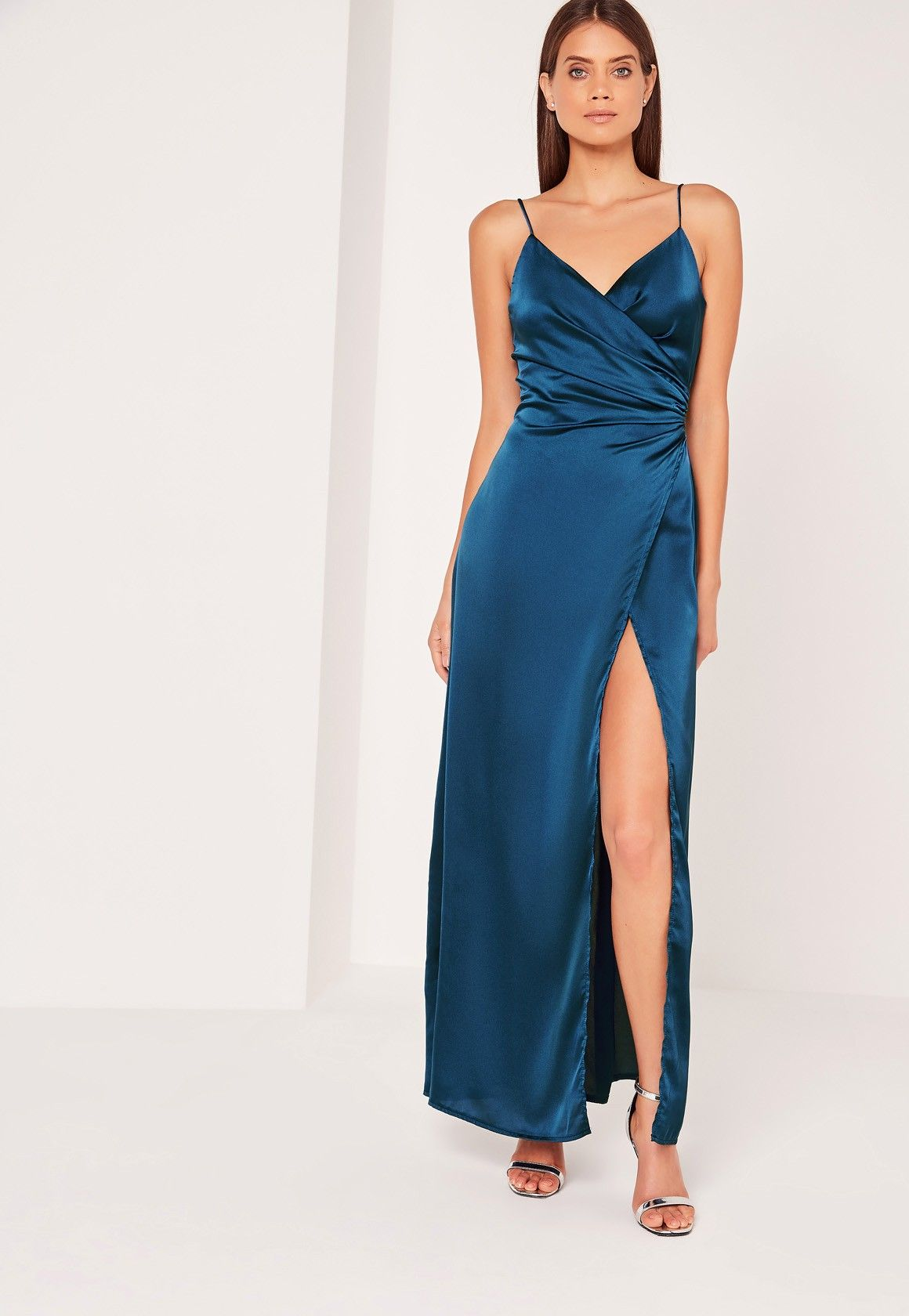 39928522df8f Missguided - Silky Wrap Over Maxi Dress Blue | Bridal Party in 2019 ...