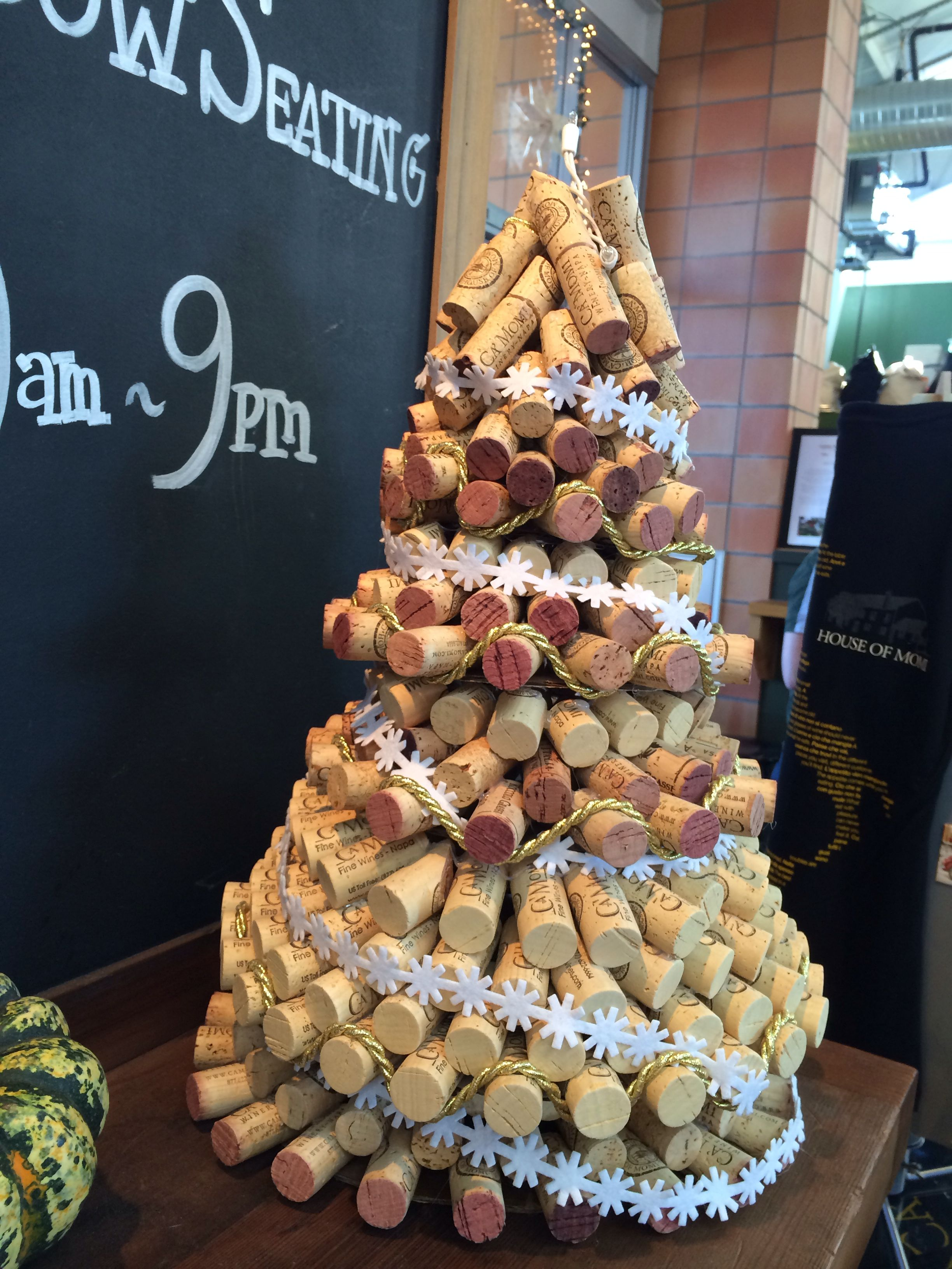 Christmas Tree Made From Wine Corks At Oxbow Market In Napa Ca