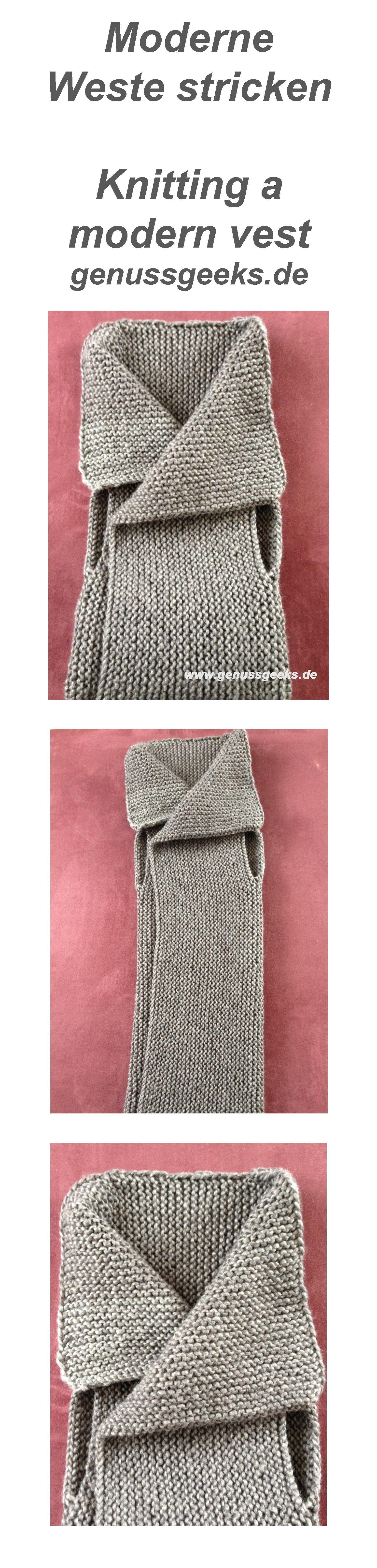 Crafting eine moderne weste stricken h keln weste stricken stricken und h keln - Moderne schals stricken ...