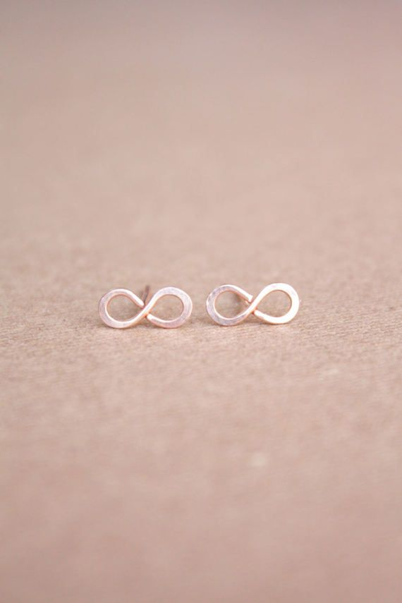 0bab97c78 22K Rose Gold Infinity Earrings Tiny infinity Rose Gold by DiAndDe ...