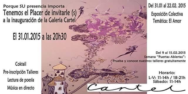 iNAUGURACIÓN Galería Cartel Granada. Recital poético, junto a Francisco Acuyo Donaire, sábado 31 de Enero, a las 20:30 horas,