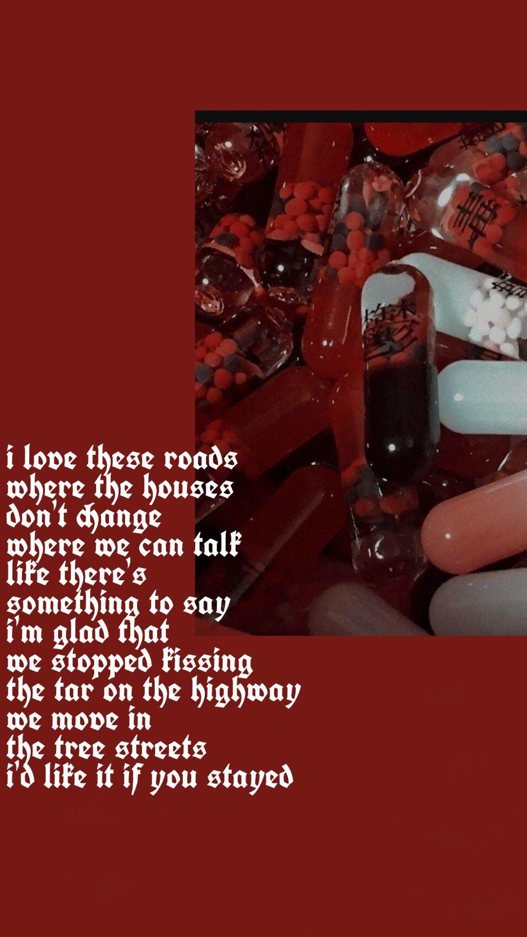 400 Lux Lyrics Wallpaper Lockscreen Wallpaper Red Lorde